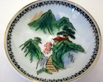 Oriental Japan Butter Pat Bowl Porcelain Water Falls Scene Floral Gold Trim Hand Painted Rare