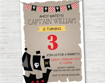 INSTANT DOWNLOAD Pirate Ship Pirate Map Pirate Skull Birthday Party Invitations