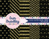 Digital Paper Pack Gold Glitter and Black Commercial Use Digital Scrapbook Papers Polka Dots Stripes Chevron and Arrows