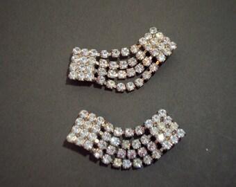 Vintage Rhinestone Shoe Clips Buckles Prom Wedding Fancy Elegant Bling