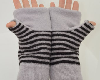 Fingerless Mitts in Taupe and Brown Stripes - Recycled Wool - Fleece Lined