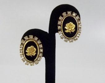 Vintage Intaglio Rose Earrings, Clip Earrings, Signed Jewelry, Rose Cameo, Celebrity Earrings, 1950's Jewelry