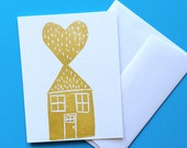 Gold Heart & House Card