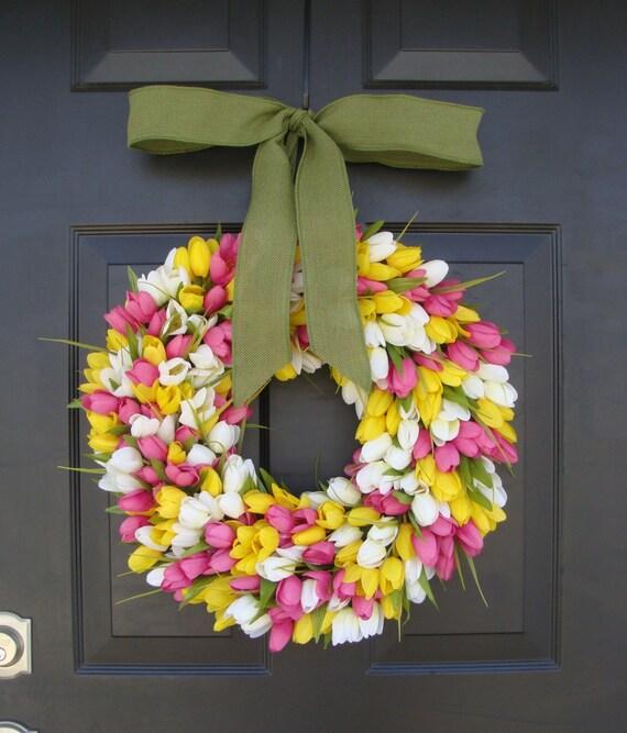 Spring Decor- Spring Wreath- Tulip Wreath- Wreath for Door- Door Wreath- Etsy Wreath Custom Sizes