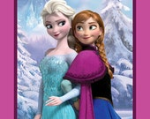 Disney Frozen from Springs Creative.  100% cotton fabric panel.  Elsa and Anna sisters forever.