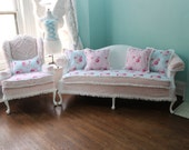 2 pc Shabby chic slipcovered sofa couch and chair  pink white blue roses vintage chenille bedspread wingback camelback made to order
