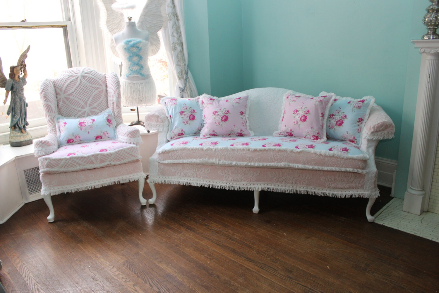 2 pc shabby chic slipcovered sofa couch by. Black Bedroom Furniture Sets. Home Design Ideas