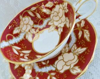 Paragon Teacup and Saucer,  Deep Red Tea Cup,  Chintz Teacup, Paragon Burgundy Teacup, Vintage Tea Cup, Collectible Teacup  noA 5