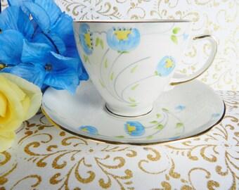 Samson Smith Teacup,  Blue Flower Teacup, Teacup and Saucer,   no 21