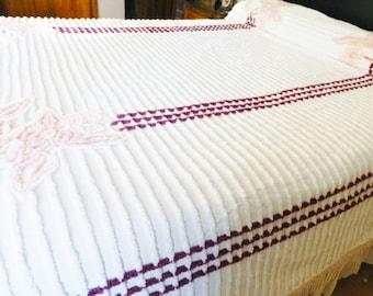 Vintage Pink Wine Plush Chenille Bedspread, White Chenille Bedspread, Full Chenille Bedspread
