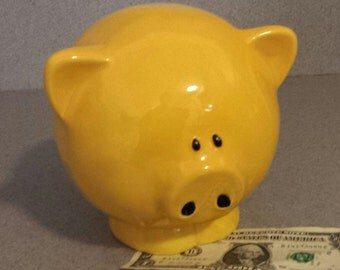 Piggy bank Ceramic big yellow pig bank with stopper  Ready to Ship #P18