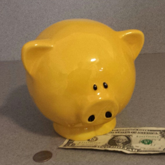 Piggy bank ceramic big yellow pig bank with stopper ready to - Piggy bank without stopper ...