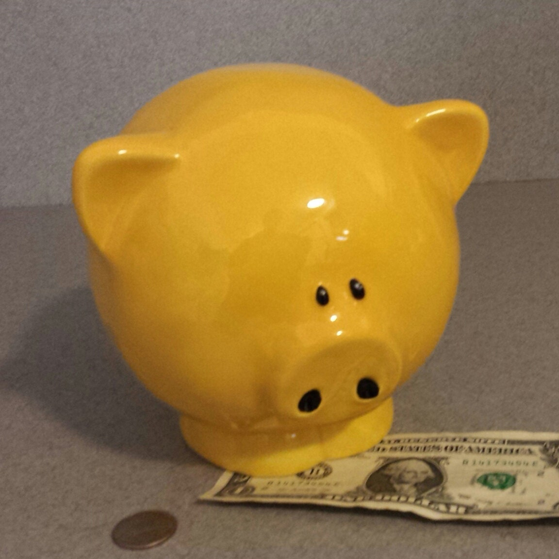 Piggy Bank Ceramic Big Yellow Pig Bank With Stopper Ready To