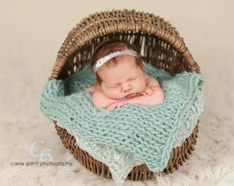 Newborn Knit Handmade Wool Mini Blanket Made to Order Choose Color