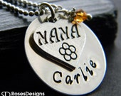 Personalized Nana Necklace, Handstamped Necklace, Grandma Necklace, by RosesDesigns