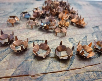 Vintage Copper Prong Sew On Setting  SS40 or SS41 8.5mm (6)