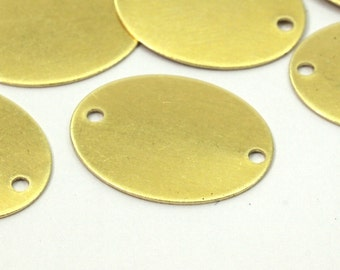 Brass Oval Connector, 50 Raw Brass Oval Connectors  with 2 Holes (18x14x0.45mm)  A0280