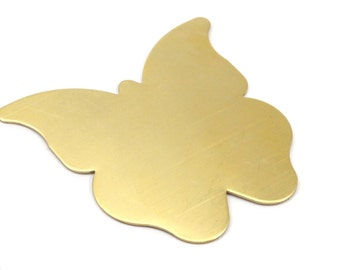 Brass Butterfly Blank, 2 Raw Brass Huge Butterfly Blank (60x62x0.80mm) D243--c101