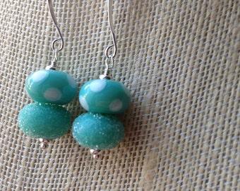 Spring green lampwork earrings