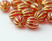 Fluted Round Red Gold Acrylic Beads 12mm (16)