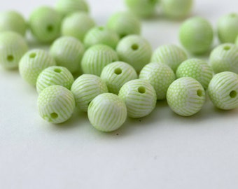 Acrylic Beads Etched Round Pale Green White Textured Craft Supplies 8mm (30)