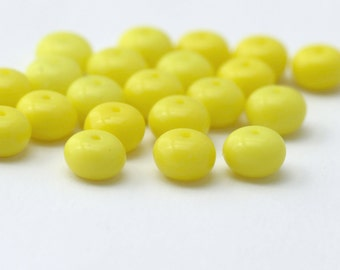 Vintage German Glass Yellow Rondelle Spacer Beads 7mm (20)