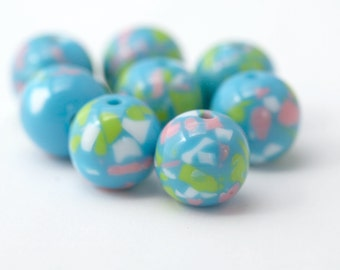 Round Blue Green Pink White Confetti Resin Beads 16mm (8)