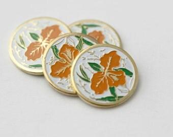 Vintage Cabochons Gold Enamel Round Flower Orange Floral Cabs Cloisonne 12mm (4)