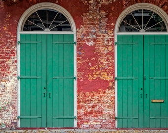 New Orleans - Pair of Green Doors - Travel Photography - French Quarter