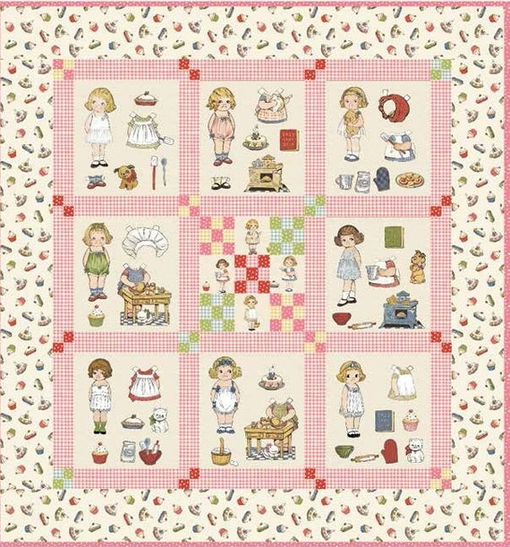 Paper Doll Quilt Pattern Kit: Quilt KIT Paper Dolls Bakery Pattern Fabric Easy Sew