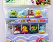 Cute Animals In Swimming Rings Japanese Bento Picks / Cake Toppers - Frog, Mouse, Bear, Duck
