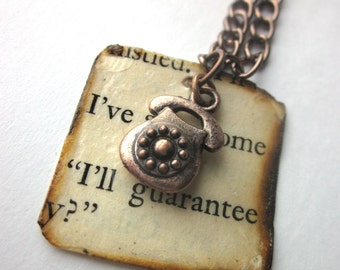 Book page necklace, literary necklace, Book page pendant