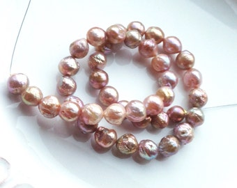 Mocha Mauve Peach Kasumi Like Nucleated Wrinkle Pearl Strand - Freshwater Pearls - 1/4 Strand