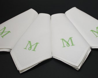Single Initial Monogram Embroidered Cotton Napkins