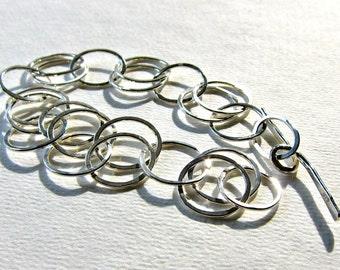 Silver Link Bracelet, Hammered Sterling Links, Recycled Sterling Link Bracelet