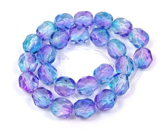 25 Firepolish Czech glass Faceted Round Beads Dual Coated - Teal/Fuchsia 6mm (C358)