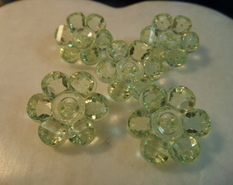 6 Light Yellow Plastic Flower Shaped Clear Buttons