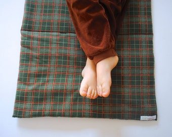 NAP MAT- 100% Organic Nap Mat- Green Plaid- Toddler Nap Mat, Preschool Napmat (Ready to Ship)