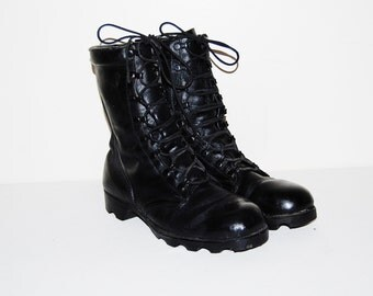 Vintage Combat Boots Military Leather