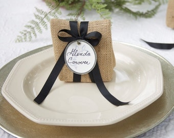 JULY Shipping! Sets of 24 - 46 Small Burlap Bags with Labels for Wedding Place Cards, Party Favor Bags, Thank You's and More