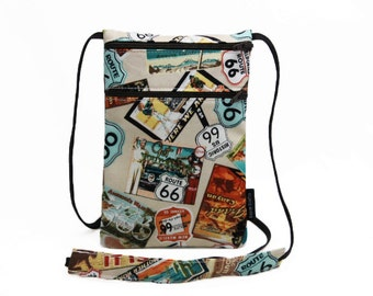 Small travel pouch, Neck wallet, Passport Holder, Small sling bag, Travel Accessory, Traffic Signs - Route 66