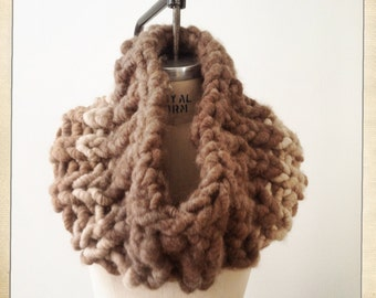 Gaga Super Chunky Scarf  Hand Knit Snood Circular Scarf Cowl Scarf  Chunky Knit Scarf Hand Made Camel Brown Color