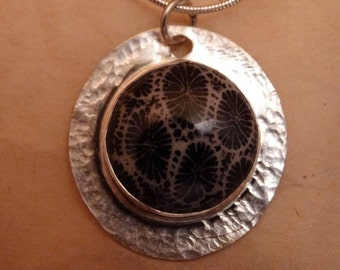 """Black petrified coral set in sterling silver Pendant / 18"""" ss chain"""
