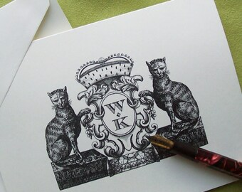 Personalized Kitties Cats Family Crest Crown Notecards Stationery Monogrammed Vintage Inspired Note Cards set 10 Kitty Kitten Pet Fur Babies