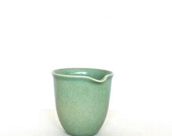 Swedish creamer with washed mint green glaze by Hoganas Keramik