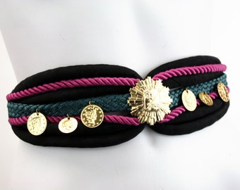Magenta Black and Teal Woven Vintage Woman's Belt