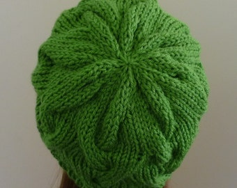 Cable Knit Hat - Soft Wave Cables in Light Green - Ready to Ship - Direct Checkout