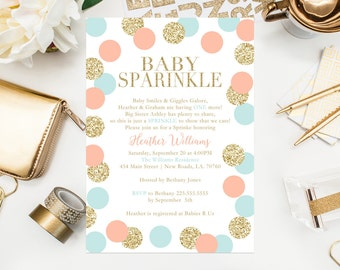 Gold Glitter Confetti Baby Sprinkle Invitations Surprise Baby Sprinkle Baby Shower Pink Blue Shower