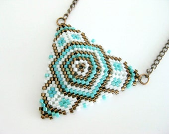 Peyote Triangle Pendant Necklace Turquoise Brown White Beadwork Seed Beads