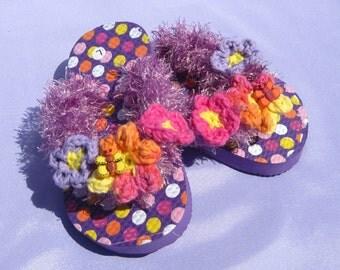 Girl's Flip Flops May Flowers Purple Girl's Sandals Girl's Crocheted Flip Flops Girl's Size 9/10 Sandals